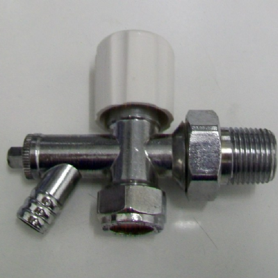 Chrome 15mm x 1/2in Radiator Valve with Drain Off - 07001481